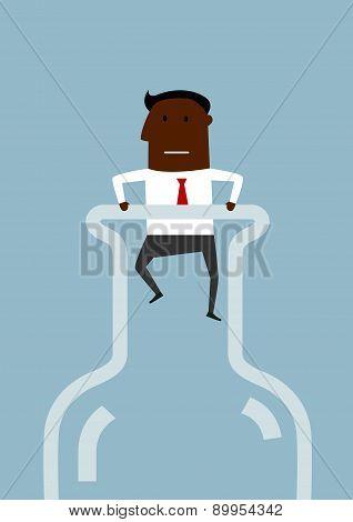 Black american businessman inside a bottle