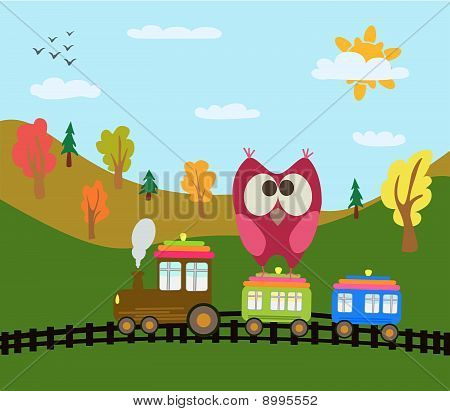 Owl And Train
