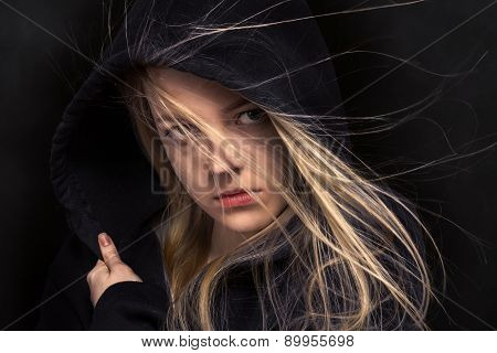 Scared Girl In Black
