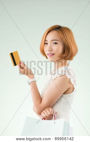 Korean Woman With Credit Card