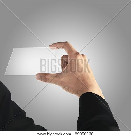 Man Holding Transparant Card