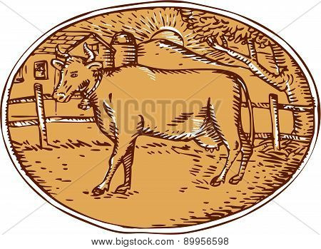 Cow Ranch Farm House Oval Woodcut