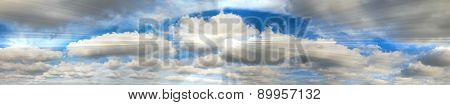 Holy Spirit. Sky Panorama With Abstract Shining