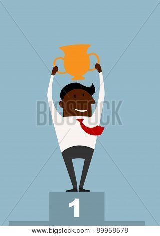 Winner black businessman raising a trophy