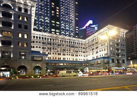 Hong Kong famous luxury Hotel Peninsula by night