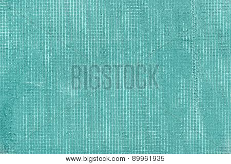 Old Cement Wall With Net And Stains, Texture Concrete Background. Turquoise, Mint And Tiffani