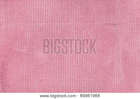 Old Cement Wall With Net And Stains, Texture Concrete Background. Pink And Rosy Vintage Colors