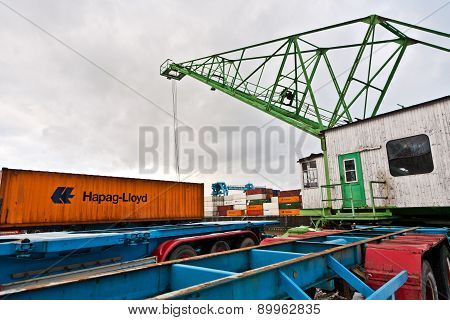Crane And Container In The Container Harbor In Winter