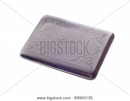 Metal Cigarette Case Isolated On A White