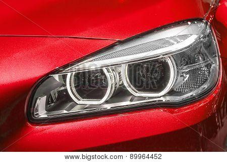 Close Up Of Modern Car Head Light