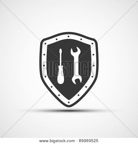 Shield Icon With Wrench And Screwdriver