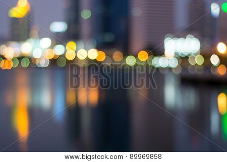 Abstract, Night Cityscape Light Blur Bokeh, Defocused Background.