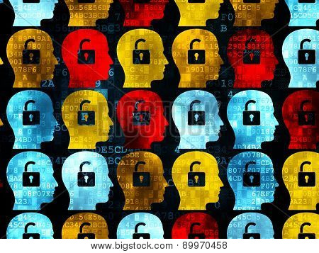 Finance concept: Head With Padlock icons on Digital background