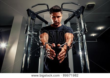 Handsome Man Work Out In Gym On Trainer