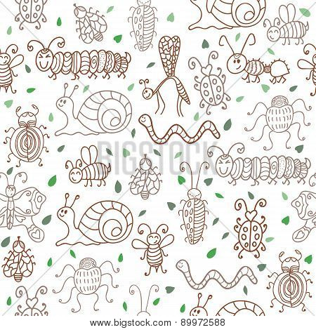 Cute Seamless Patterns With Insects And Leaves