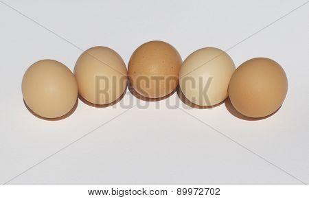 Fresh Chicken Eggs On A White Background