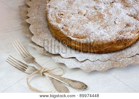 Delicious Apple Pie For Lying On Wooden Painted Background.
