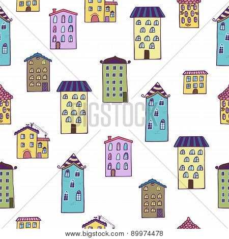 Seamless Background With Houses. Home Sweet Home