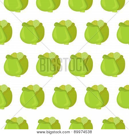 Seamless Pattern With Cabbage