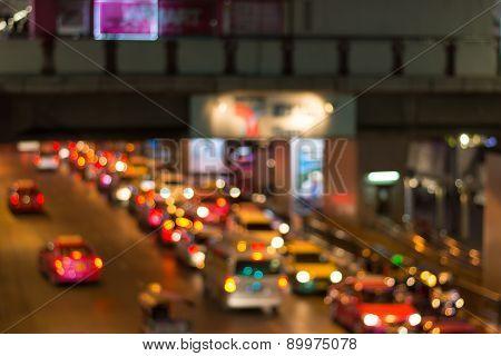 Road Night Light Bokeh , Defocused Blur Background