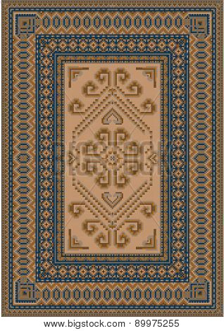 Calm coloring carpet with blue and brown shades