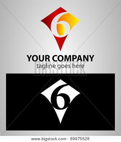 number six 6 logo icon design template elements