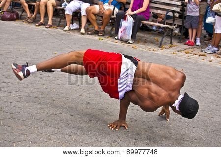 Brake Dancer At An Open Air Performance In Battery Park, New York