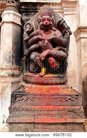 Old Deity Of Narasimha, The Avatar Of The Hindu God Vishnu, In A Public Square In Bhaktapur, Nepal