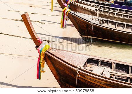 Longtail Boat Bow On The Beach
