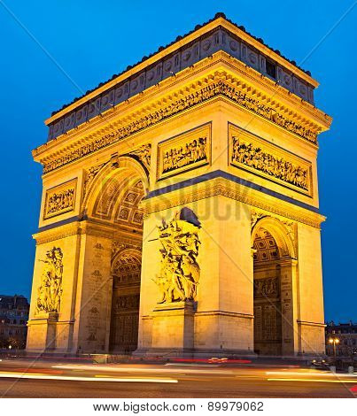 Triumphal Arch At Dusk, Paris