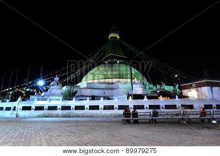 Boudhanath Stupa At Night, Kathmandu, Nepal