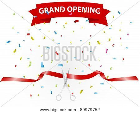 Grand opening background with confetti