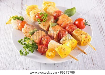raw fish skewer