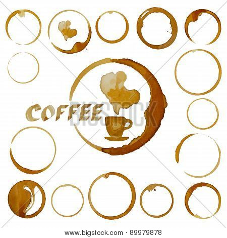 Vector Coffee Cup Stains. Coffee Blots Isolated On White