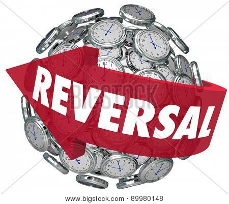 Reversal word on a red arrow pointing backward on a sphere or ball of clocks to illustrate changing course or direction