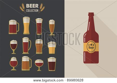 Collection of flat vector Beer glasses. Icons and illustrations