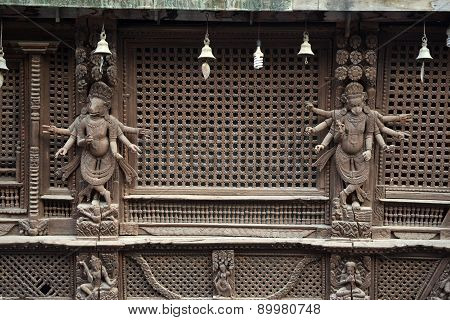 Wooden Carvings On A Hindu Temple In Kathmandu, Nepal. Now Destroyed By The Powerful Earthquake That