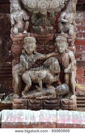 Erotic Carvings On A Hindu Temple In Kathmandu, Nepal. Now Destroyed By The Powerful Earthquake That
