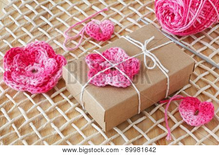 Handmade Pink Crochet Flowers And Heart For Decoration Of Gift