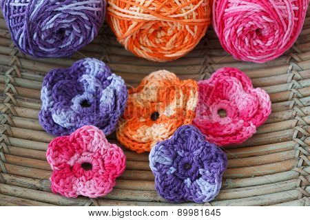 Handmade Colorful Crochet Flowers With Skein