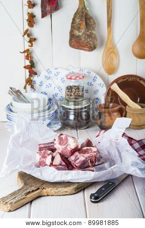 Raw Oxtail On The Table Of The Kitchen