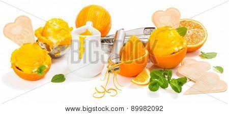 Concept With Orange Ice Cream
