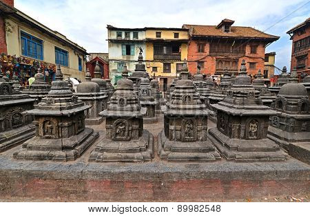 Ancient Statues In Swayambhunath, Nepal. Now Destroyed After The Earthquake That Hit Kathmandu, Nepa