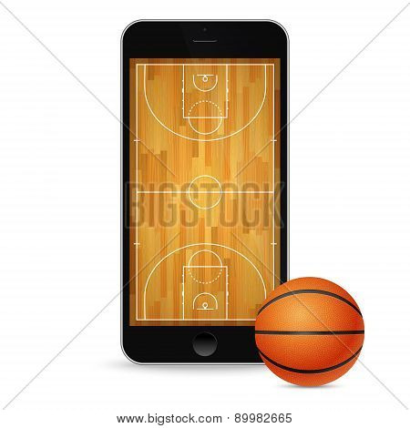 Black Smartphone With Basketball Ball And Court On The Screen.