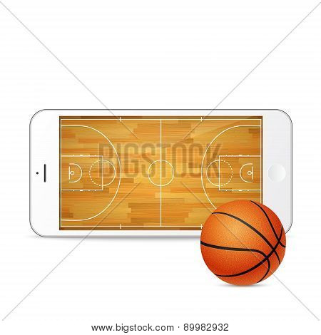 Vector White Smartphone With Basketball Ball And Court On The Screen.