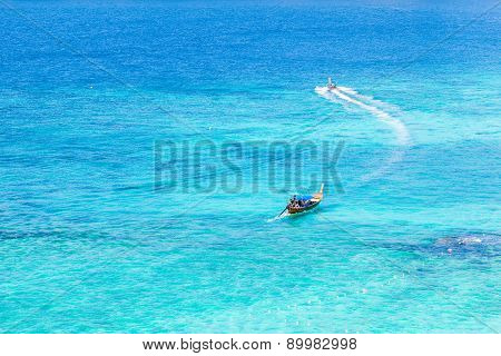 Azure Sea And Boats