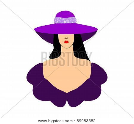 Fashion women girl in purple hat