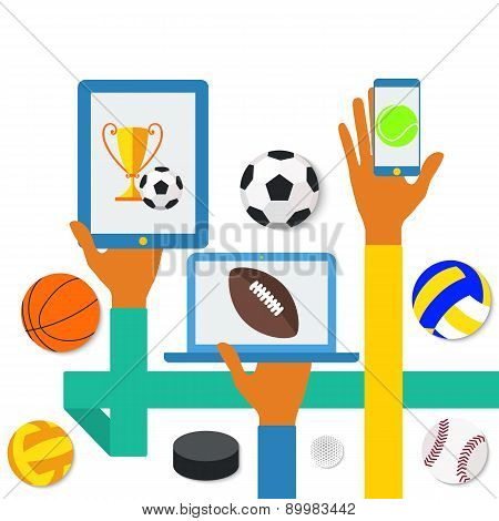 Icons of hands with phone and sports icons.