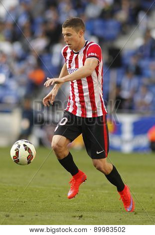 BARCELONA - APRIL, 12: Oscar de Marcos of Athletic Club Bilbao during a Spanish League match against RCD Espanyol at the Power8 Stadium on April 12 2015 in Barcelona Spain