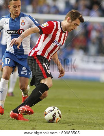 BARCELONA - APRIL, 12: Ibai Gomez of Athletic Club Bilbao during a Spanish League match against RCD Espanyol at the Power8 Stadium on April 12 2015 in Barcelona Spain